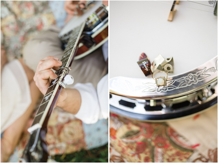 bohemian engagement photography, engagement ring on a banjo