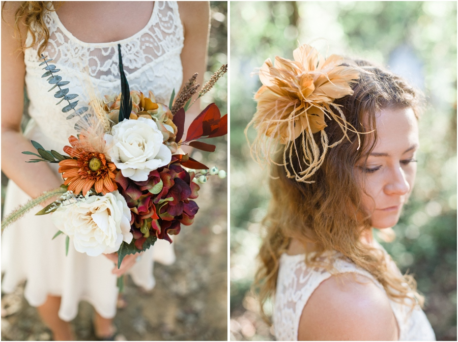 fall bouquets, vintage lace dress, flower hair accessories, southern portrait photography