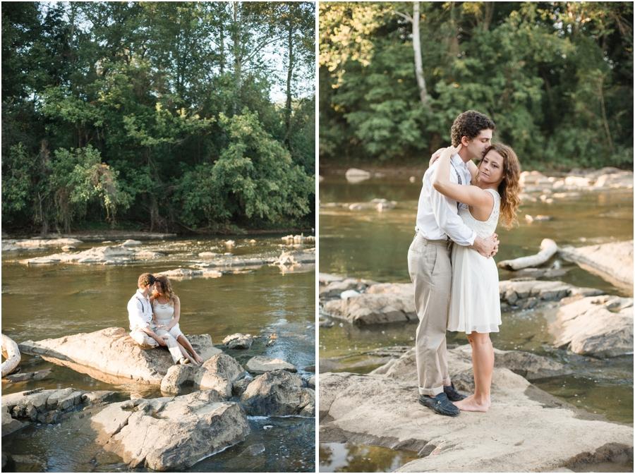 romantic river engagement photography, bohemian engagement photographers