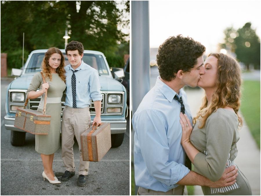 vintage couple's photography, romantic vintage engagement