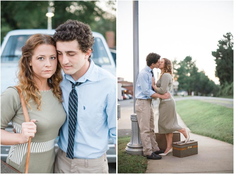 romantic vintage engagement, 50s engagement photography