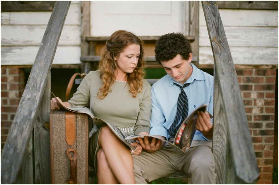 vintage engagement photography, raleigh nc