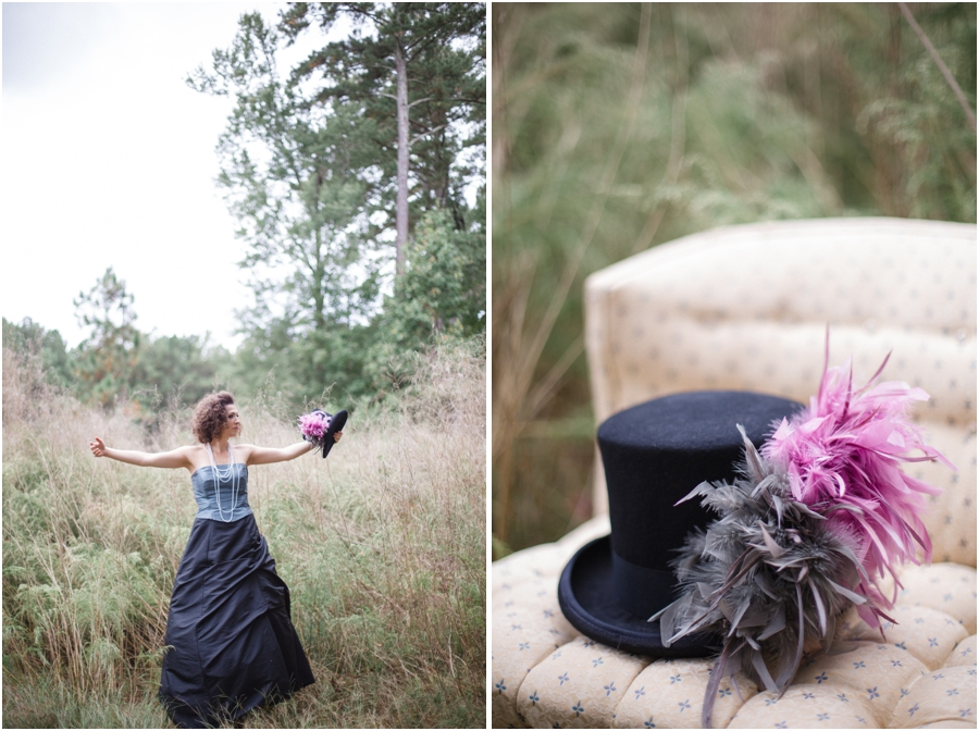 romantic bohemian photography, vintage top hat with pink and grey feathers