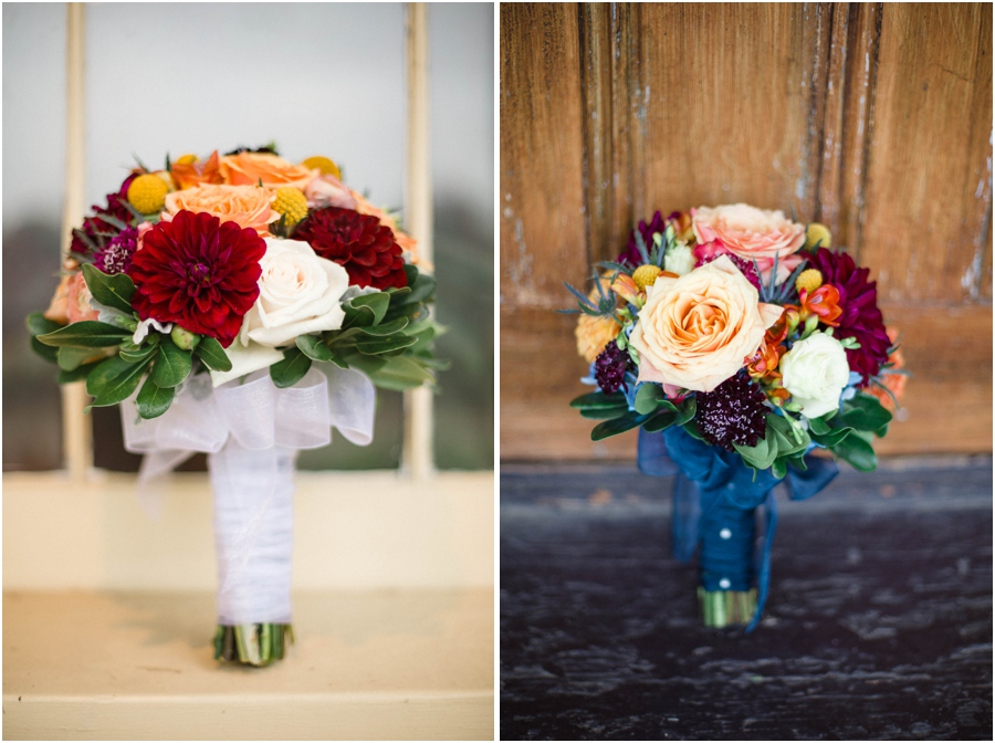 colorful bridal bouquets, vintage wedding photography