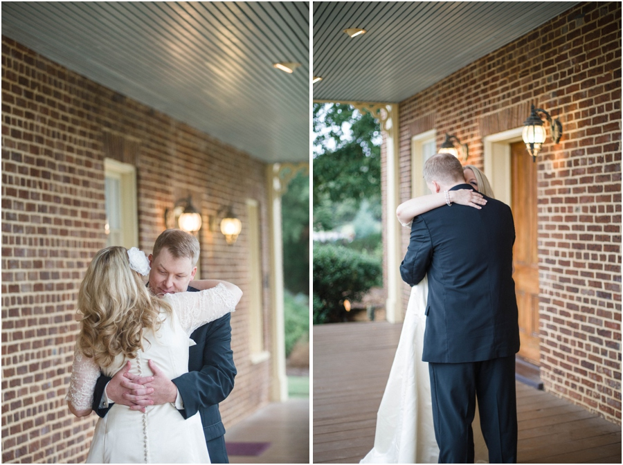 romantic first look photography, vintage wedding photographers, raleigh nc