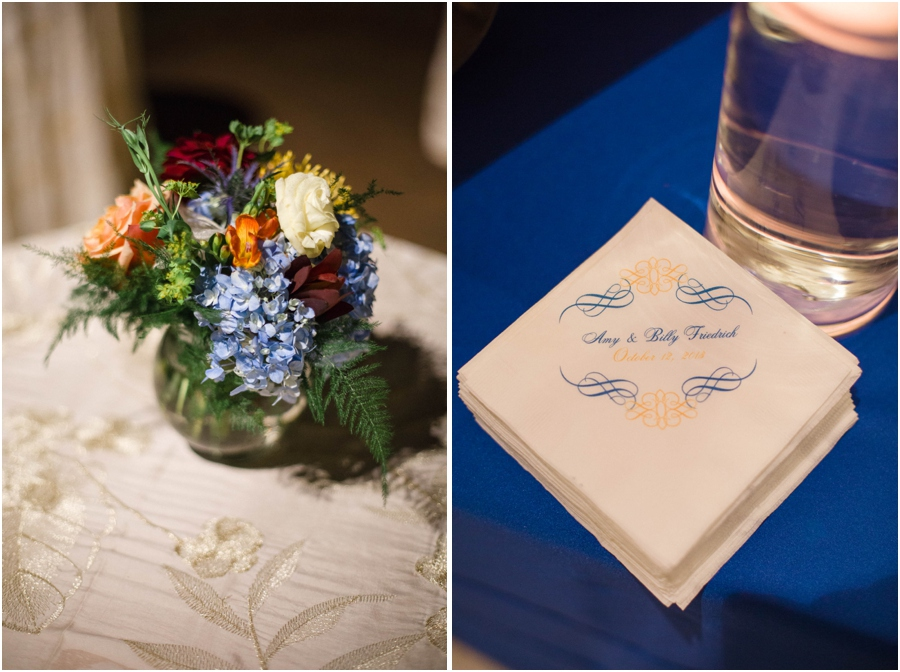 flowers in a vase, personalized napkins at southern wedding reception