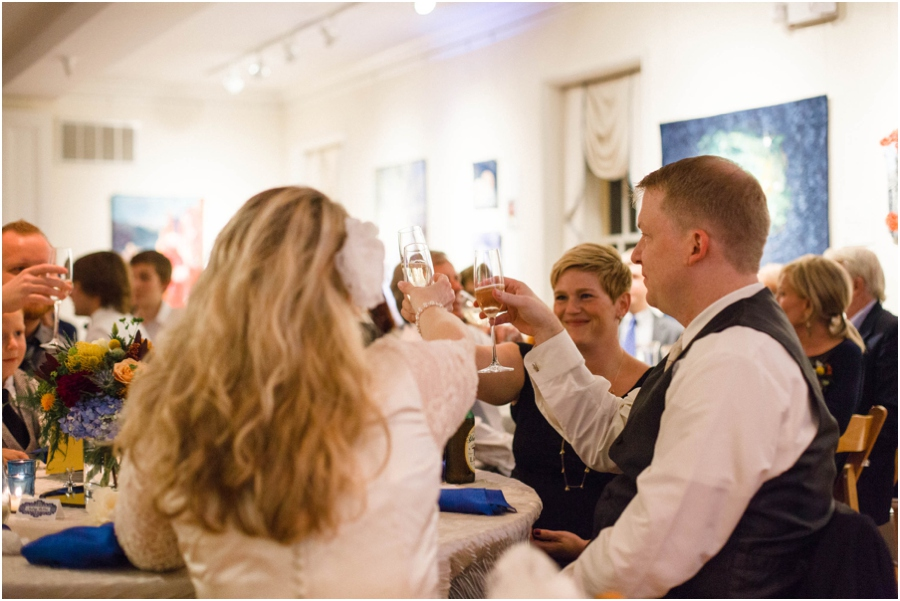 bride and groom toast with close friends, southern wedding photography