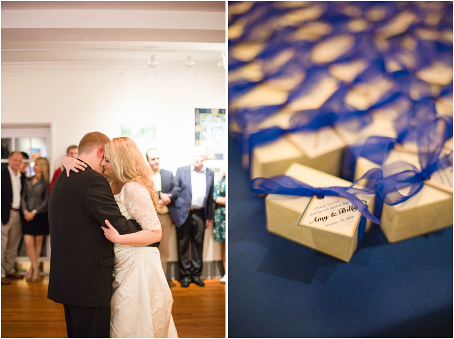 romantic reception photography, little gift boxes as favors for guests