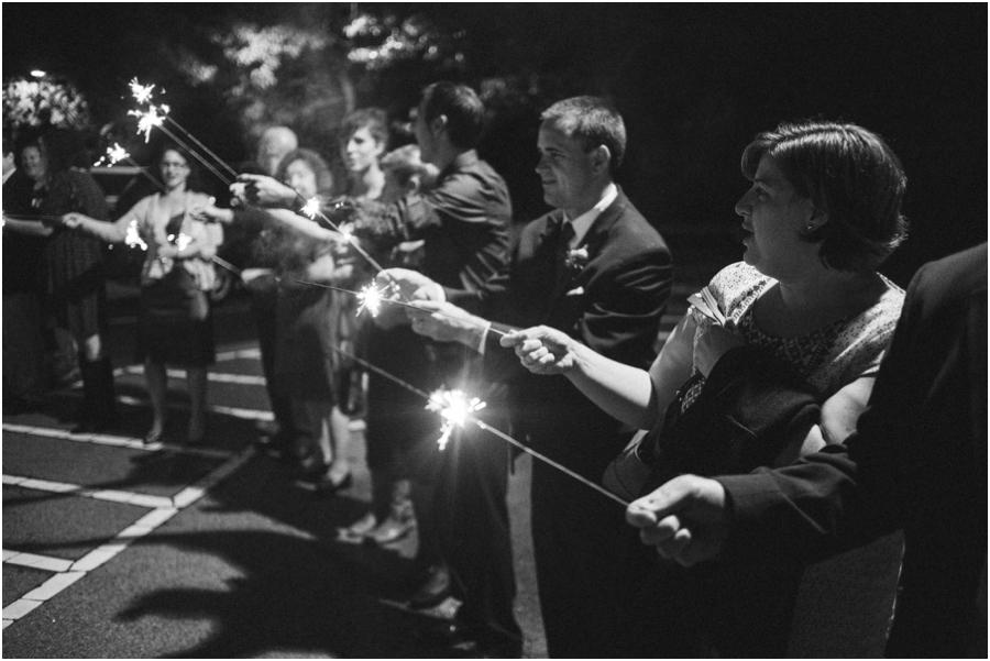 fun sparkler exit at wedding reception, vintage wedding photography