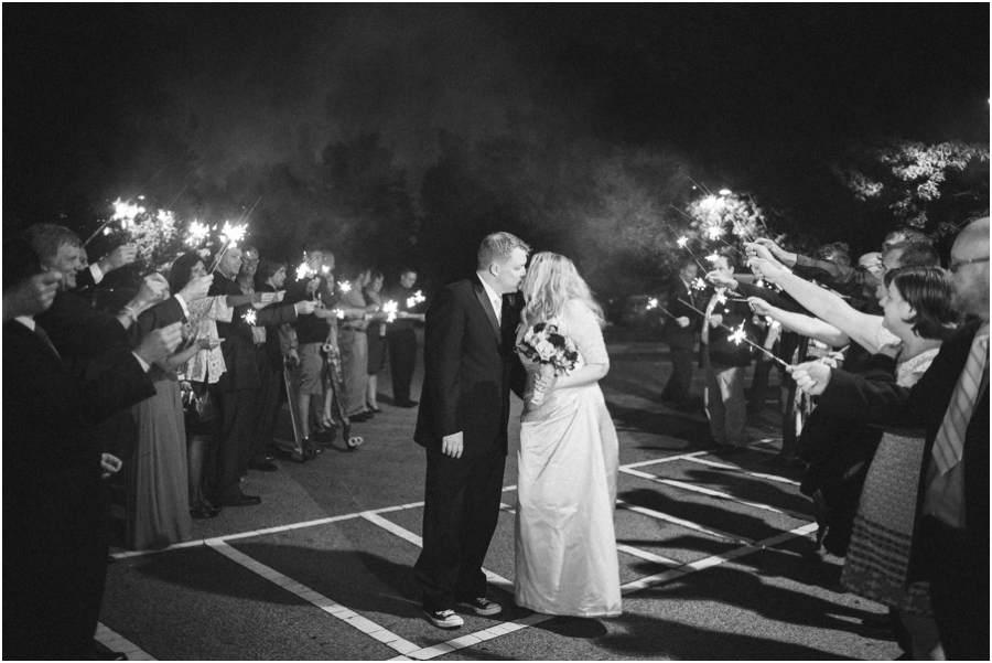 romantic sparkler exit at southern wedding reception