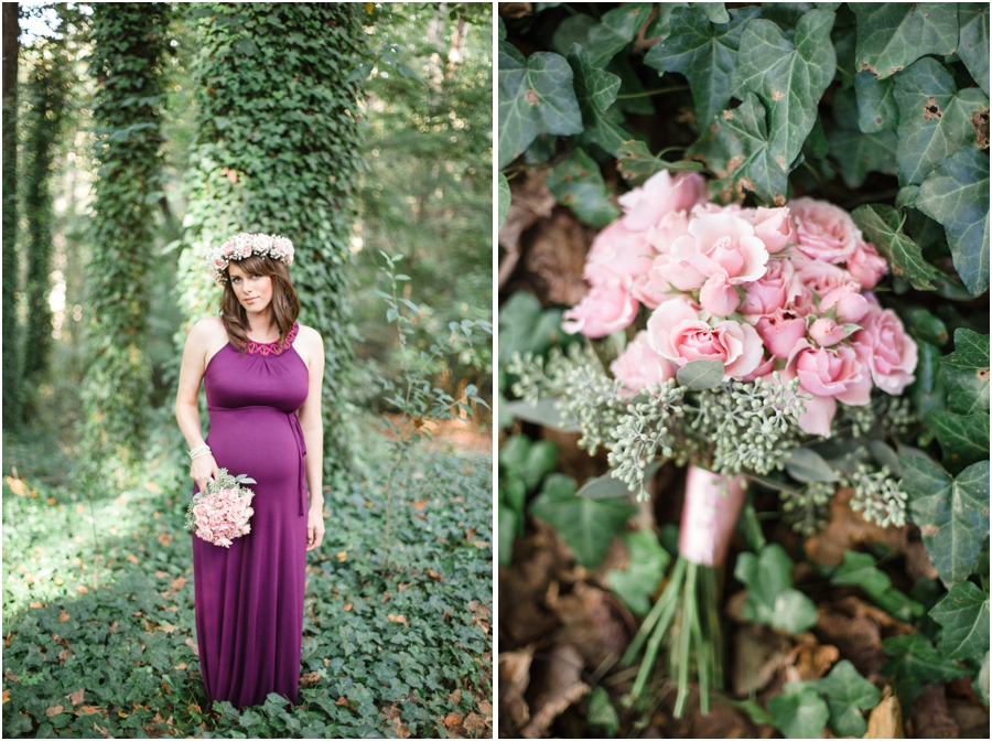 woodsy maternity photography, blush pink rose and baby's breath bouquet