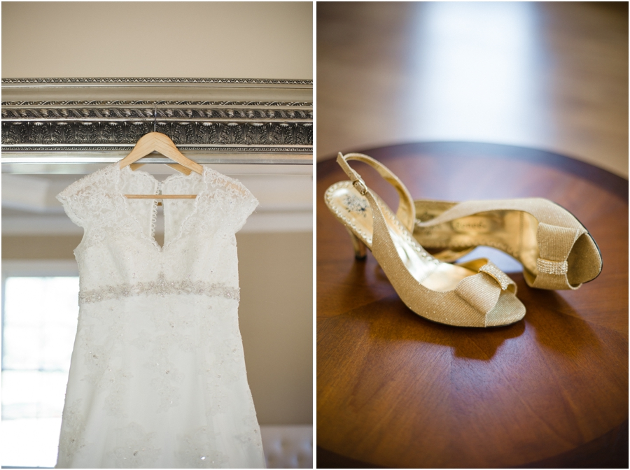 lace detailed wedding dress from david's bridal, bow bridal shoes