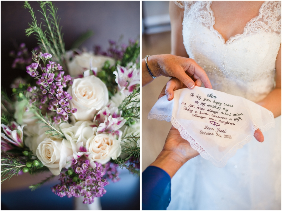cream and purple bridal bouquet, sweet gift for the bride's mom