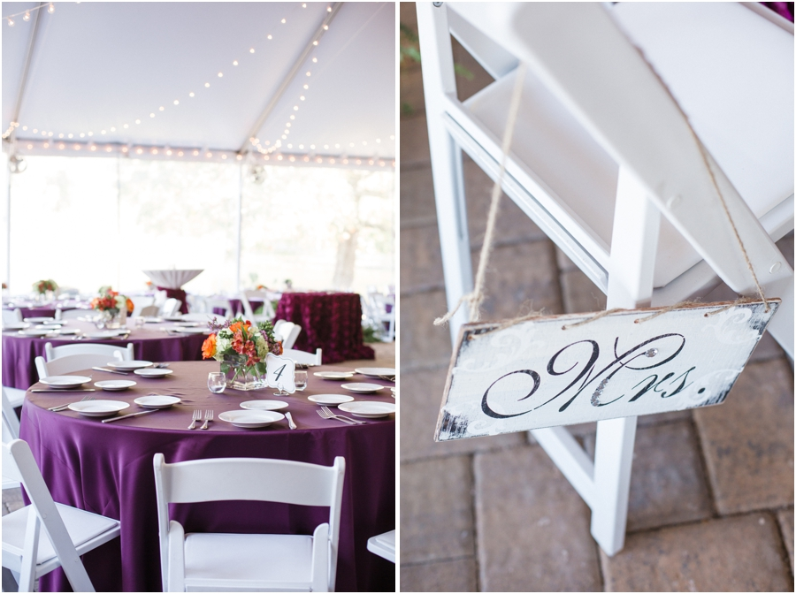 purple and white wedding reception, rustic wedding photography