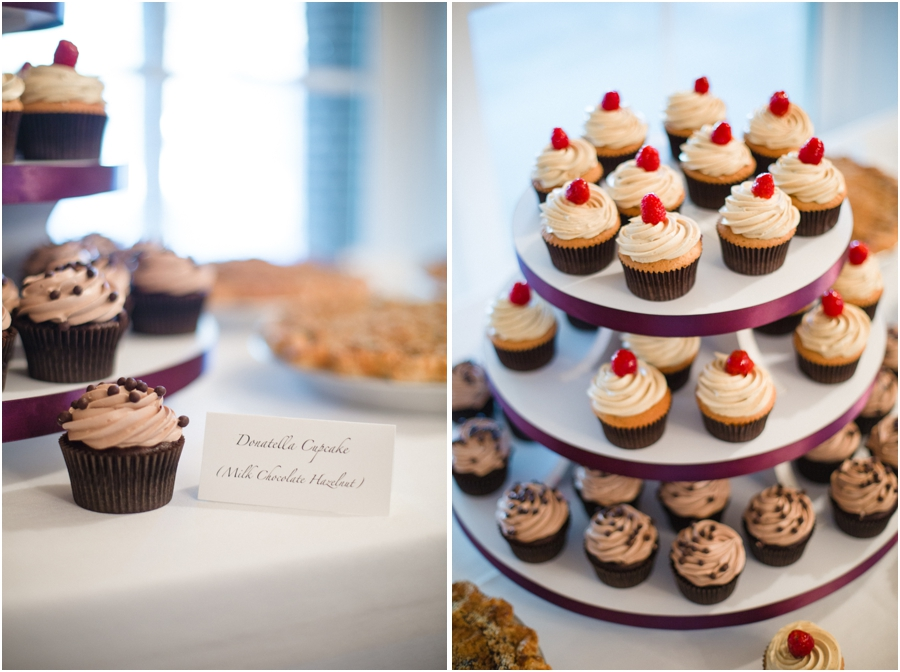 assorted cupcakes served at wedding reception