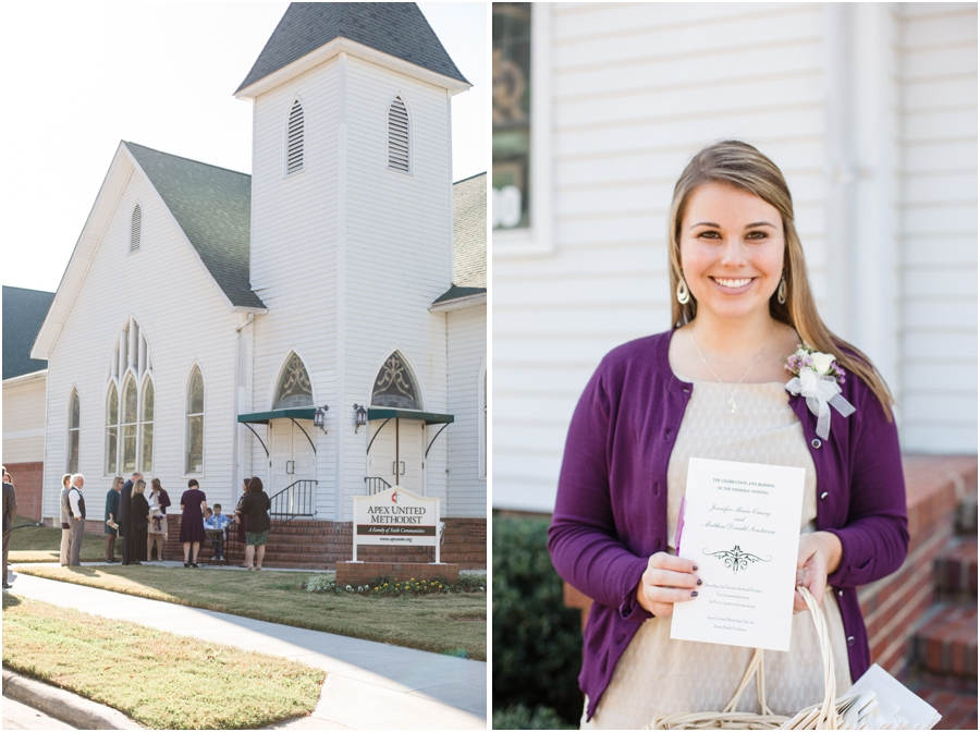 guests going into the church, guest holding a wedding program