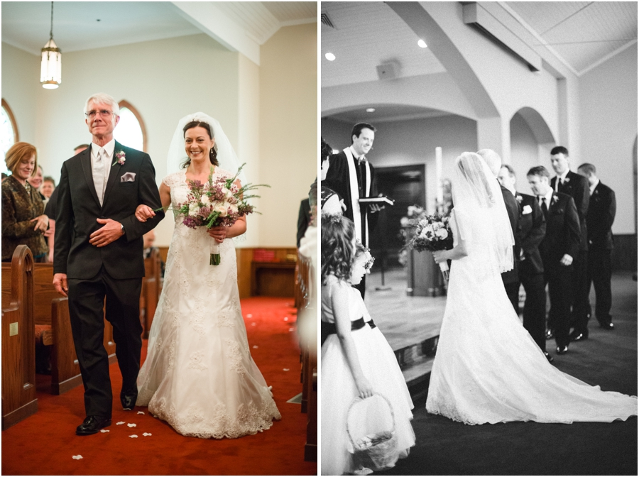 father and bride walking down the aisle, black and white wedding photography