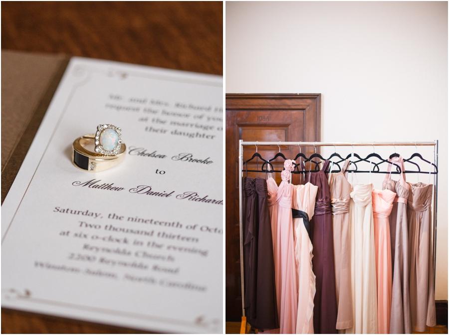 vintage wedding bands on wedding stationary, assorted bridesmaid dresses