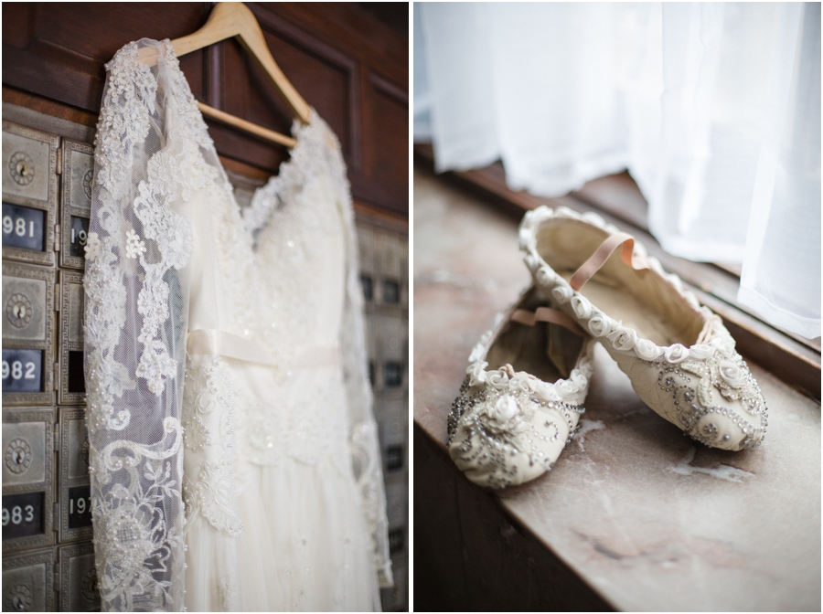 heirloom wedding dress, bridal ballet slippers