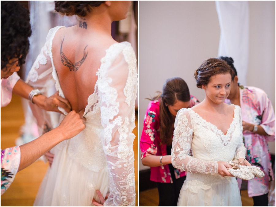 bride with tattoo, bride getting ready, vintage bridal photography