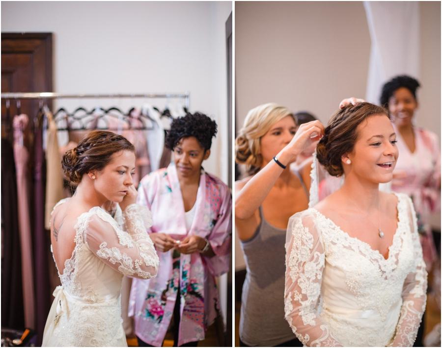 bride getting ready, heirloom wedding dress, vintage bridal photography