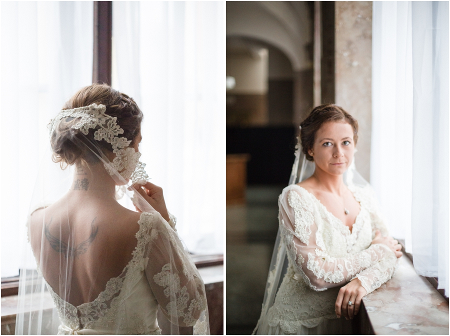 bride with back tattoo, vintage bridal photography