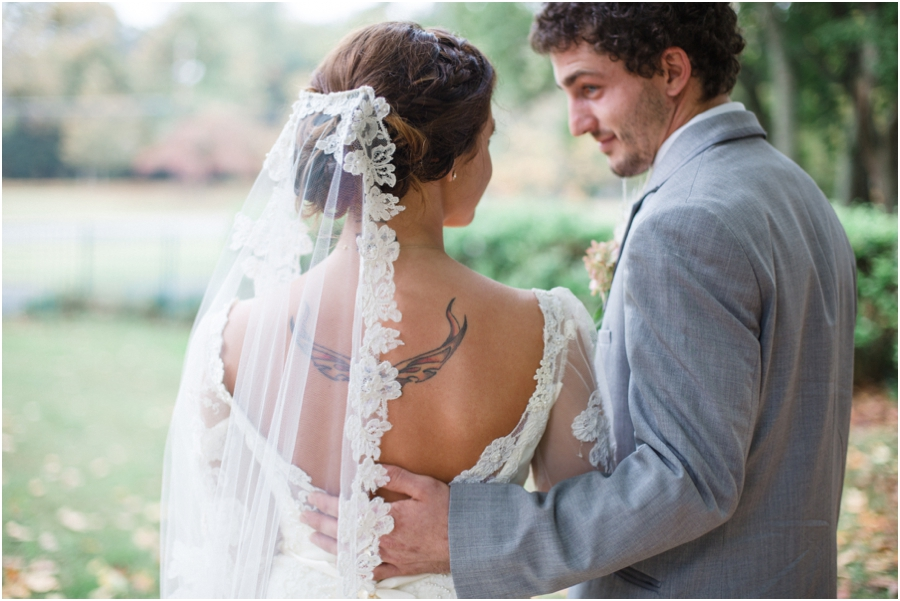 bride with tattoo, vintage wedding photography