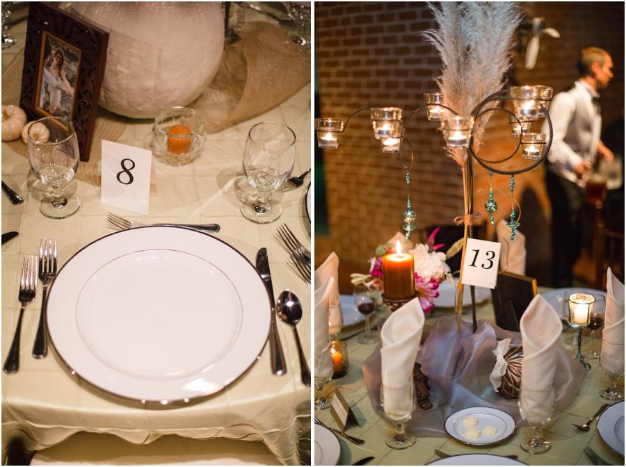 table settings at winston-salem nc wedding reception, bohemian wedding photography