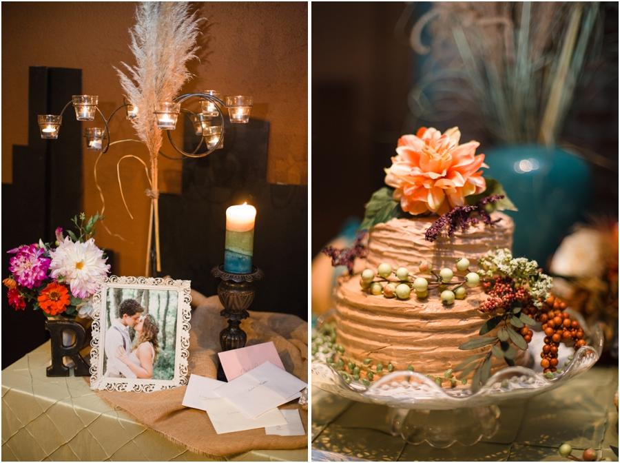 bohemian wedding reception decor, southern wedding cake