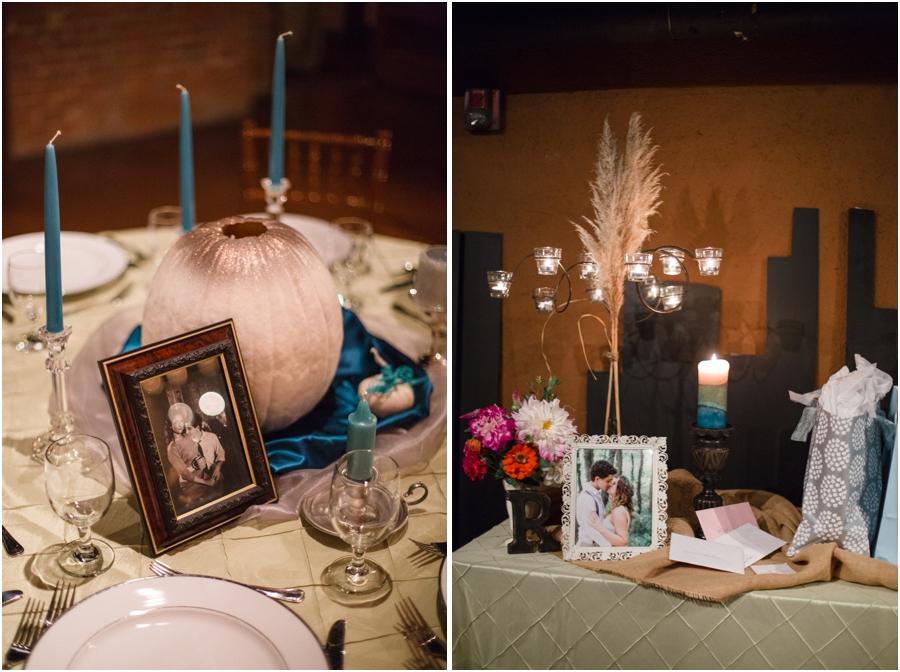 vintage bohemian wedding reception decor, Millennium Center wedding photography