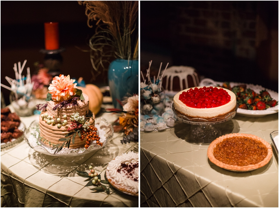 autumn wedding cake, dessert bar with treats made by friends and family at wedding reception