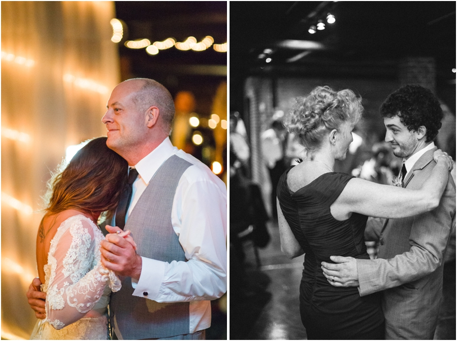 father daughter dance, mother and son dancing at wedding reception