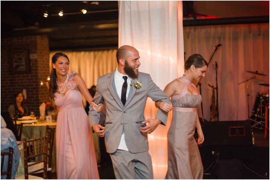 bridal party dancing at wedding reception