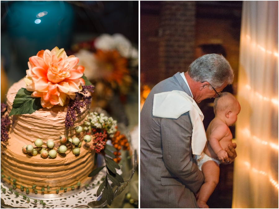 beautiful autumn wedding cake, guests at wedding reception