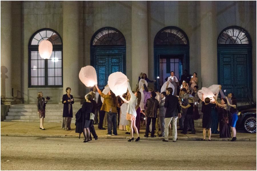 guests set off wish lanterns at Millennium Center wedding