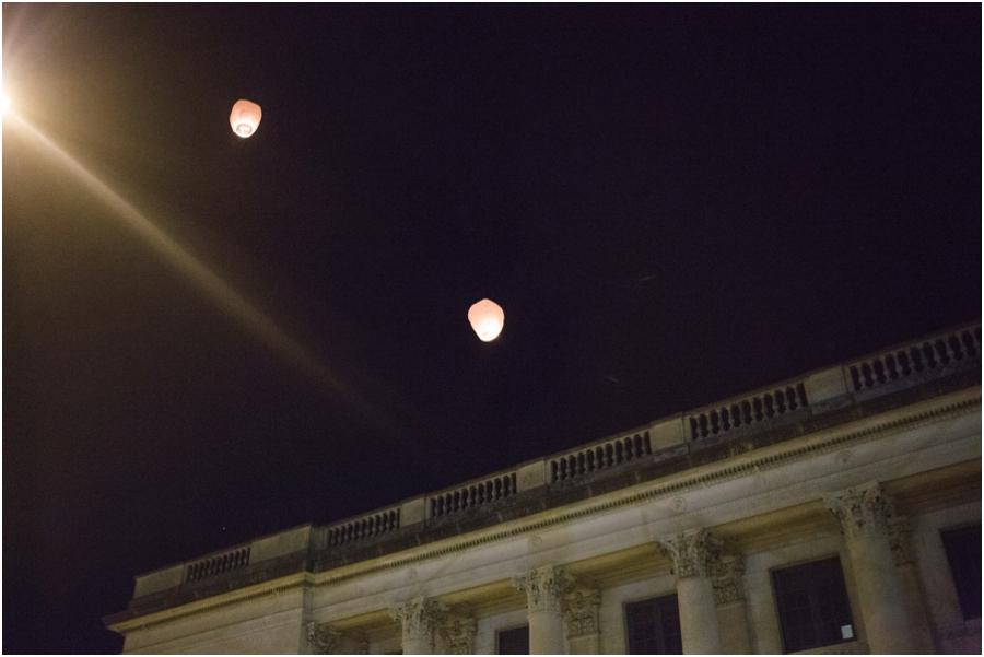 wish lanterns at Millennium Center wedding