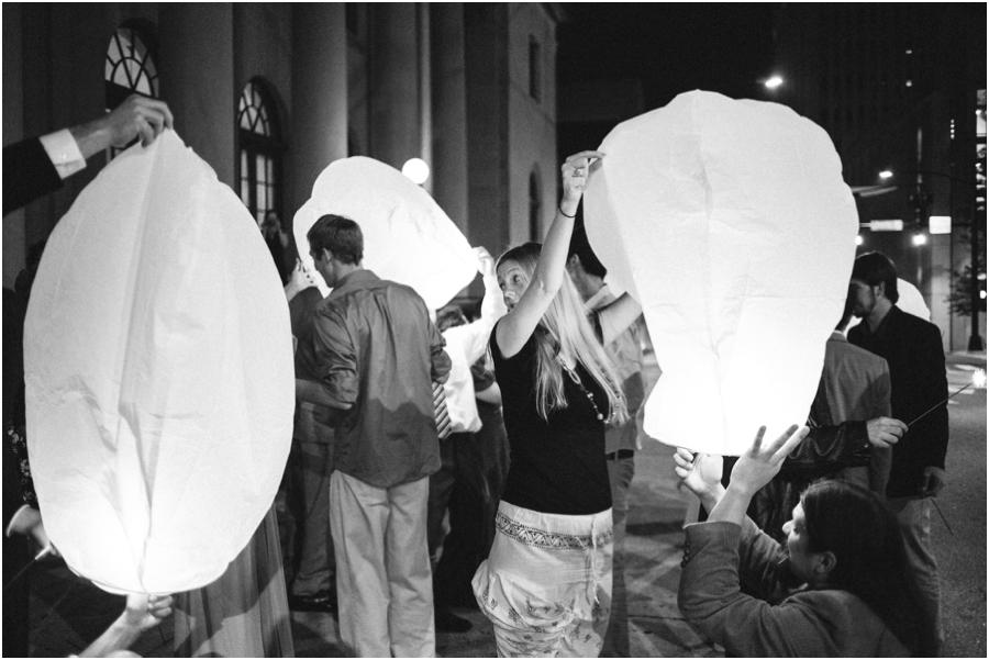 wish lanterns at Millennium Center wedding, vintage wedding photographers