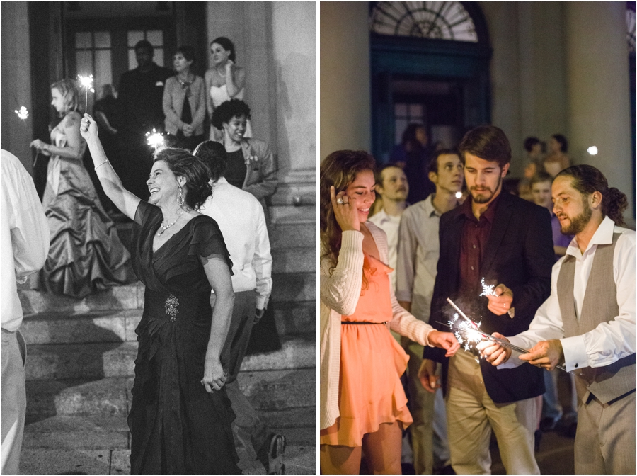 guests holding sparklers, vintage wedding photography