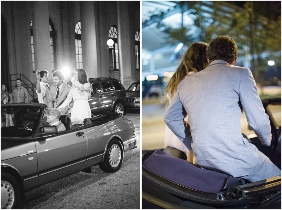 bride and groom in the back of a convertible, southern wedding photography