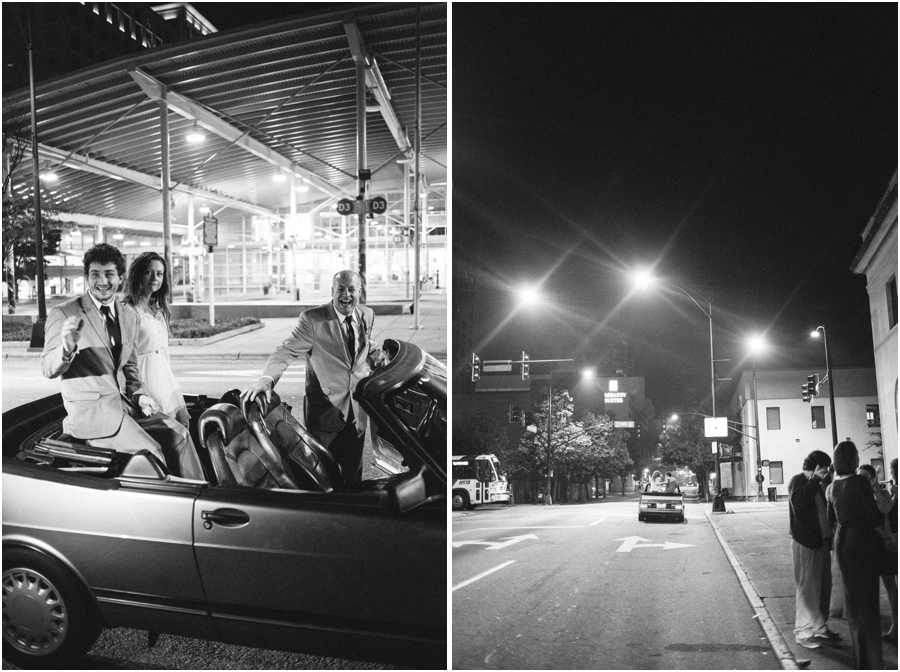 bride and groom in the back of a convertible, black and white wedding photography