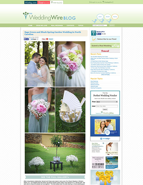 Sage Green and Blush Spring Garden Wedding in North Carolina | WeddingWire- The Blog