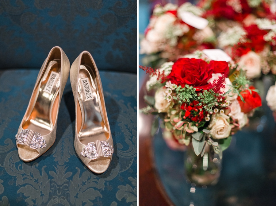 bridal slippers, blush and red bridal bouquets from the English Garden