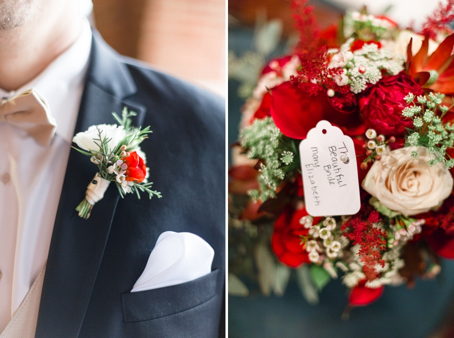groom's boutonniere with blush and red flowers, bride's bouquet