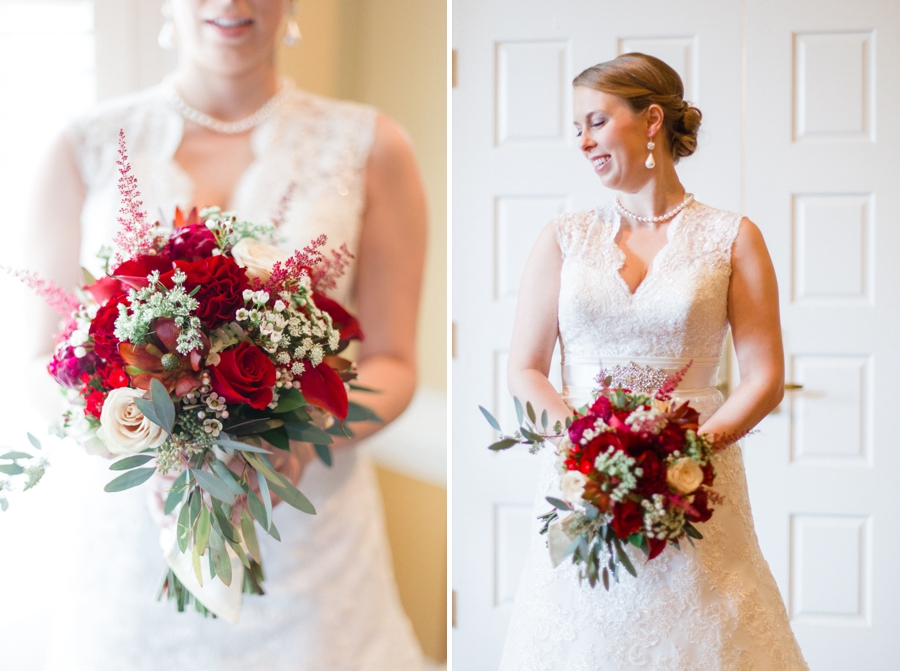 vintage bridal photography, blush and red bridal bouquet