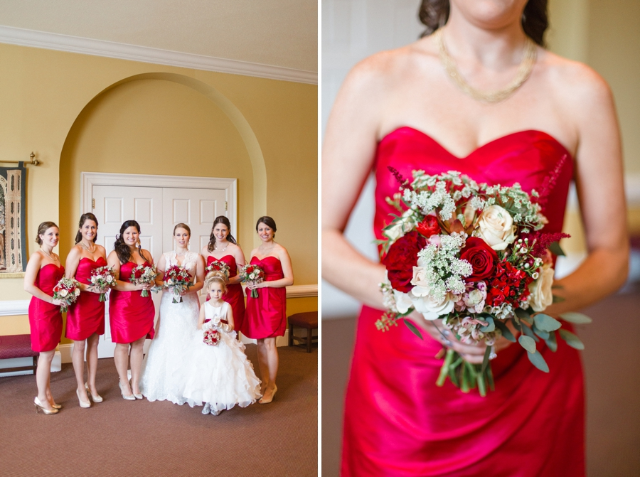 bridal party photography, red bridesmaid dresses