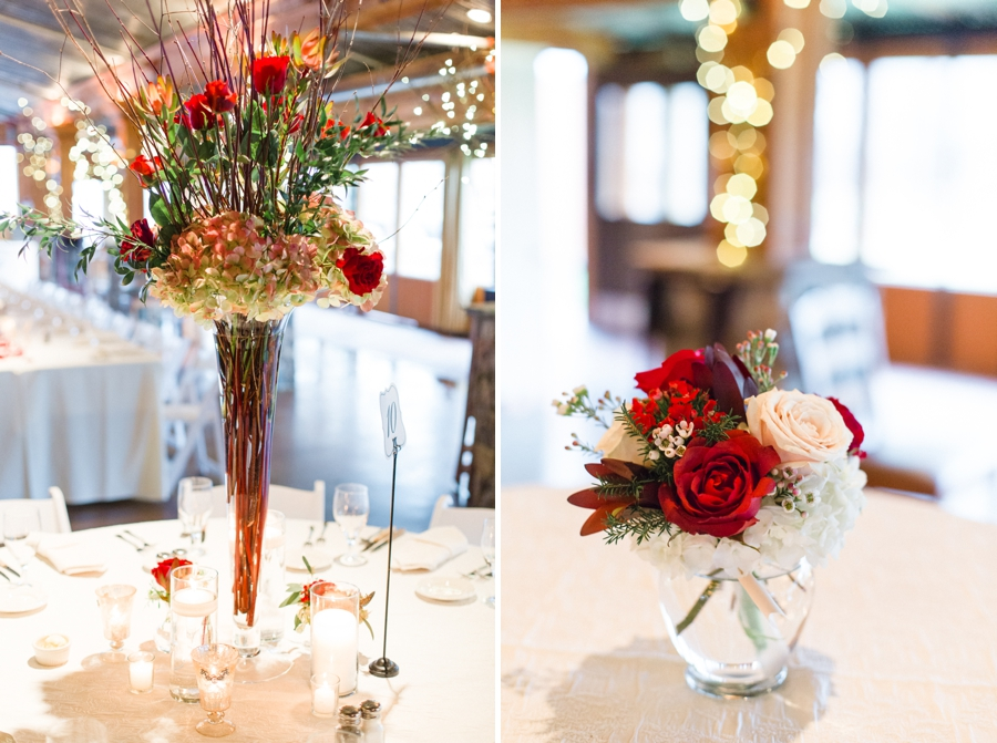 blush and red floral centerpieces, angus barn wedding reception