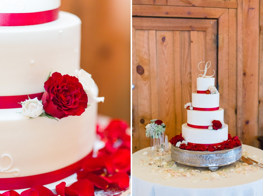 wedding cake with red accents by Sweet Memories Bakery