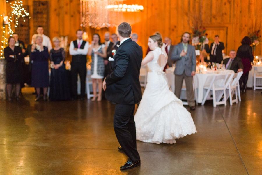 bride and groom on the dance floor at angus barn wedding reception
