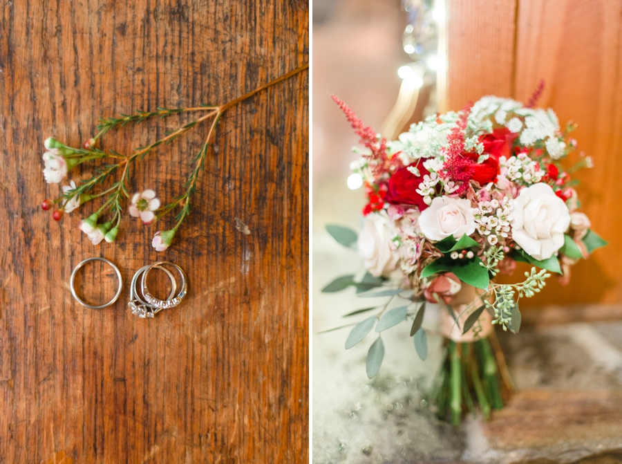 romantic ring shot, blush and red bridal bouquet