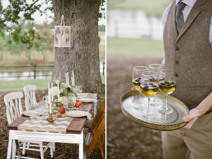 intimate outdoor wedding reception, vintage drink tray